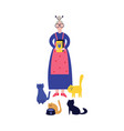lonely grandma or elderly woman feeds her cats vector image