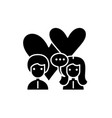 love relationship black icon sign on vector image