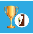 male climbing rock trophy sport design vector image vector image