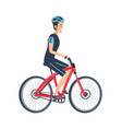 male ride bike isolated white vector image