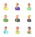 Man and woman avatars icons set cartoon style vector image