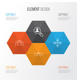 management icons set collection of cooperation vector image