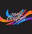 merry christmas hand drawn lettering banner design vector image