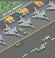 military airfield isometric composition vector image