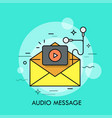 opened yellow envelope play button and earphones vector image vector image