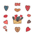 pack of love stickers with hearts hand drawn vector image vector image