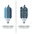 pencil and city skyline concept vector image