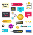 quick tips logos and banners helpful tricks vector image vector image