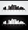 saskatoon skyline and landmarks silhouette vector image vector image