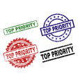 scratched textured top priority seal stamps vector image