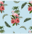 seamless pattern with flamingo and tropical leaves vector image vector image