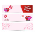 set banner valentines day two loving hearts vector image vector image