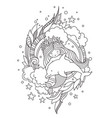 stylized round composition with mermaid hugging vector image