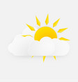 sun with clouds over white background vector image