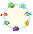 underwater creature border tenplate vector image
