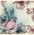 vintage background with hibiscus flowers vector image vector image