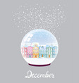 winter snow ball with city covered in snow vector image vector image