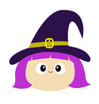 witch girl face wearing curl hat happy halloween vector image vector image