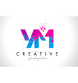 ym y m letter logo with shattered broken blue vector image vector image