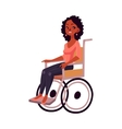 Young black beautiful woman sitting in wheelchair vector image vector image