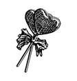 lollipop sketch in heart shape isolated on white vector image