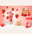 strawberry yogurt ads bottle in milk splash vector image