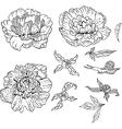 Set of Doodle Flowers vector image