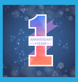 1 year anniversary ribbon blur blue background vec vector image
