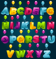 3d alphabet with party balloons vector image vector image