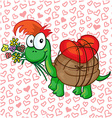 a in love cartoon turtle vector image vector image