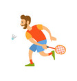 badminton player with racket hitting shuttlecock vector image vector image