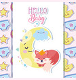 bashower cute fox sleeping moon cartoon vector image vector image