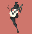 beautiful and tattooed pin-up girl playing guitar vector image