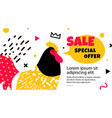 bright banner design template with a cock vector image