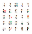 business characters flat icons collection vector image vector image