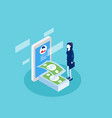 businessman receiving money online transaction vector image vector image