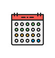 calendar flat color line icon isolated on white vector image