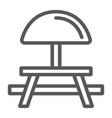camping table line icon furniture and travel vector image vector image