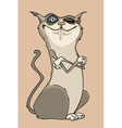 cartoon winking funny cat is crossing her paws vector image vector image