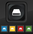 CD-ROM icon symbol Set of five colorful stylish