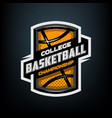 college basketball sports logo emblem vector image vector image