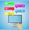 computer pc screen bubble hand message isolated vector image