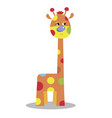 cute cartoon funny giraffe isolated on w vector image