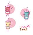 cute drinks kawaii cartoons vector image