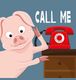 cute pig and red phone vector image