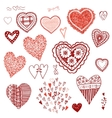 Doodle set of heartsHeart of confetti knitted vector image