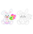 fantasy cute toy rabbit holding bouquet vector image