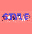 fashion style girl character typography banner vector image