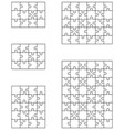 five white puzzles vector image vector image
