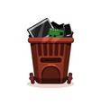 flat icon of brown plastic container full vector image